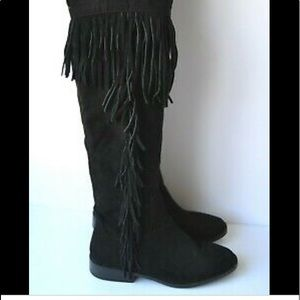 NWT Over Knee Fringe Vegan Suede boots size 6.5